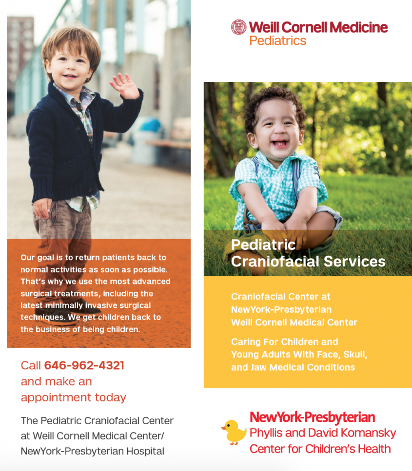 Showcase brochure with children patients from Pediatric Craniofacial Services